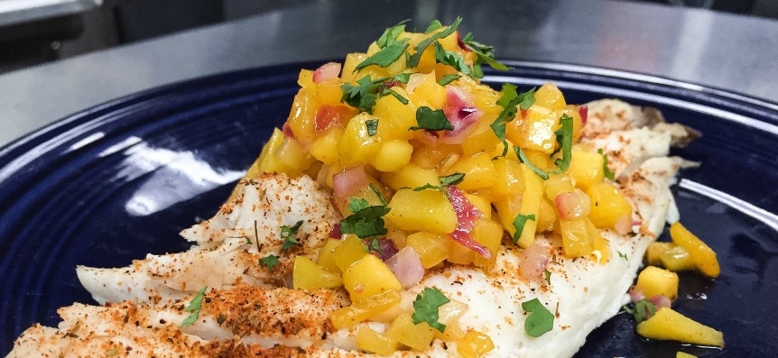 Broiled Red Snapper with Mango Chutney and Cilantro